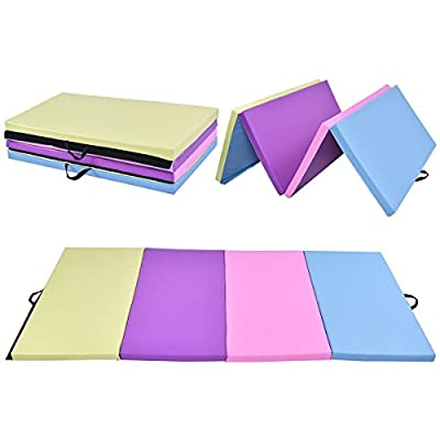 "MD Group 4' x 8' x 2"" Multi-Colors Folding PU Panel Gymnastics Mat"