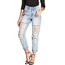 G by GUESS Women's Jelzel High-Waisted Destroyed Boyfriend Jeans