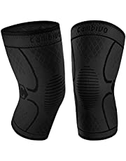 Cambivo Knee Brace Support(2 Pack), Knee Compression Sleeve for Running, Hiking, Basketball, Soccer, Tennis, Relieving Joint Discomfort and Muscle Fatigue
