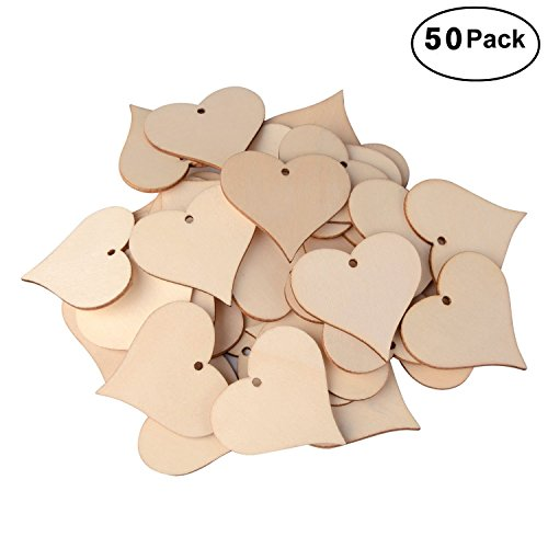 UTOPER Wooden Love Heart Slices Blank Name Tags with Hole Gift Tags for Party, Wedding, Home Decoration, Art Craft (50 Pack, 47mm)