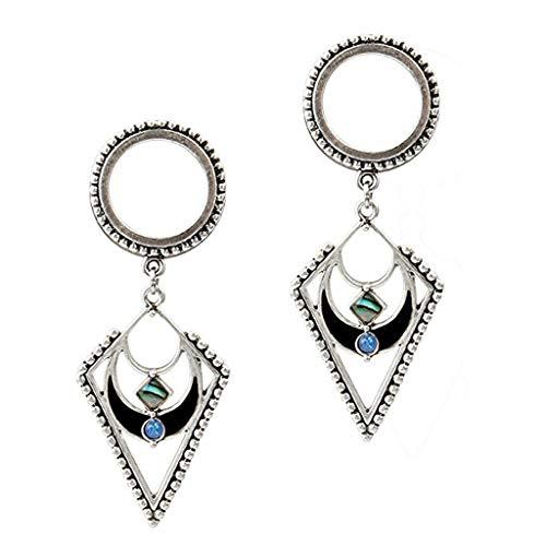 - Stainless Steel Geometric Shaped Opal Ear Gauges-Screw Fit Ear Plugs-Eyelets (Style - 12mm)