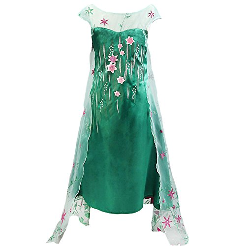 [Z.D 2015 Girls Snow Queen Elsa Dress Costume Girls princess dress, Green, 130/US 5] (Frozen Elsa Coronation Dress Costume)