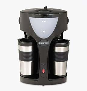 Toastess TFC-42T Silhouette 800-Watt Twin Coffeemaker with 2 Thermal Travel Mugs