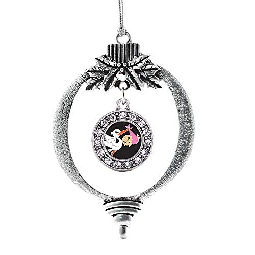 Inspired Silver - Stork Brings A Girl Charm Ornament - Silver Circle Charm Holiday Ornaments with Cubic Zirconia Jewelry