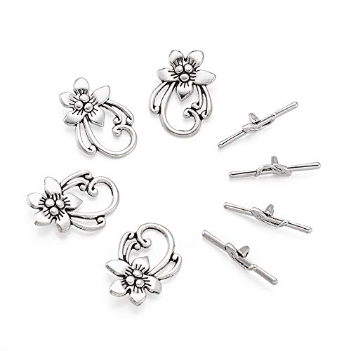 Beadthoven 10sets Plated Flower Tibetan Style Toggle Clasps Antique Silver T-Bar Bracelets Necklaces Clasps Sets for Jewelry Making DIY Crafts Finding Accessory Lead Free & Cadmium Free