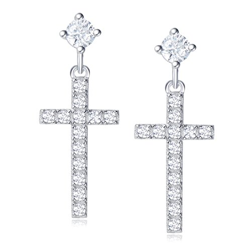 Carleen 14K Gold Plated Sterling Silver CZ Simulated Diamond Small Cross Stud Earrings for Women Dangle Drop Earrings