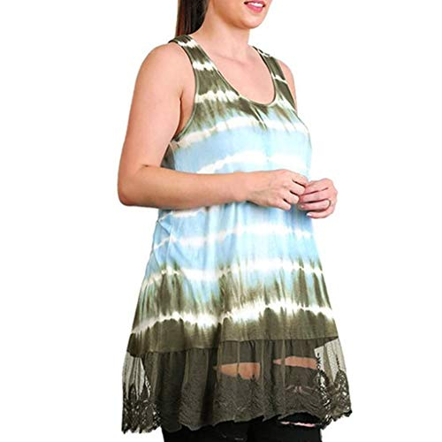 Tantisy ♣↭♣ Women's Plus Size Tie-dye Print Vest Sleeveless Lace Hem Flowy Ladies Tank Tops Multicolor Multi-Code Mint Green