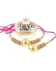 Sarvam Bhaiya Bhabhi Rakhi Bracelet Set of 2 + 1 Kumkum Chawal Dibbi Combo Gift for your Brother Indian Rakhi Raksha Bandhan Festival Gift for your Brother Indian Rakhi Raksha Bandhan Festival