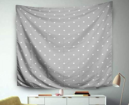 Jacrane Tapestry Wall Hanging with 50x60 Inches Christmas Grey Pattern Tile Background Small Polka dots for Desktop Wallpaper Art Tapestries for Bedroom Living Room Home Decor Wall Hanging -