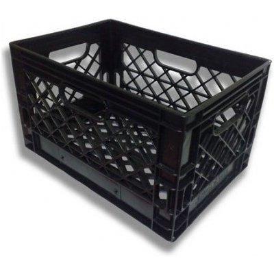 3 Pack Black Heavy Duty Rectangular Stackable Dairy Milk Crates ()