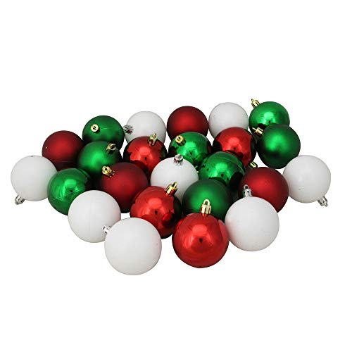 (24ct Red, White and Green Shatterproof Shiny and Matte Christmas Ball Ornaments 2.5