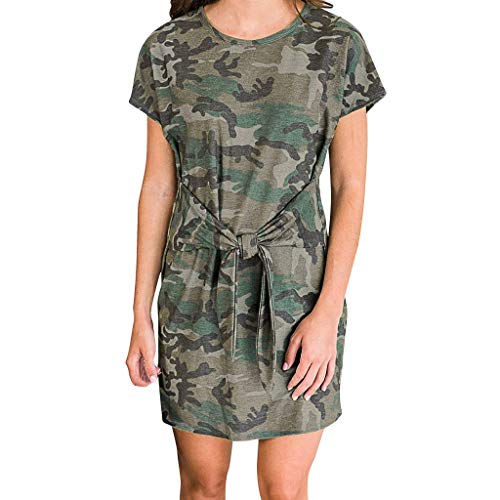 Women Summer Dresses Casual Tie Waist Short Sleeve Camo Camouflage Print Mini Dress (S, Army Green)