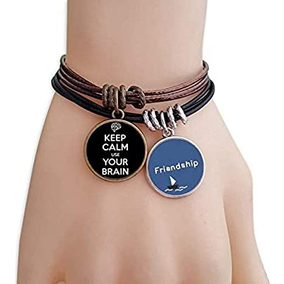 Quote Keep Calm Use Your Brain Black Friendship Bracelet Leather Rope Wristband Couple Set Estimated Price -