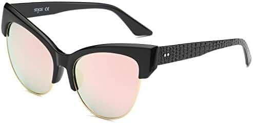 SojoS Womens Classic High Pointed Half Frame Cat Eye Sunglasses SJ2026
