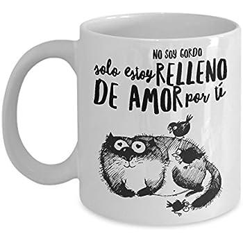 Taza de Cafe Chistosa Gato Gordo Lleno de amor para Su Esposa , Novia