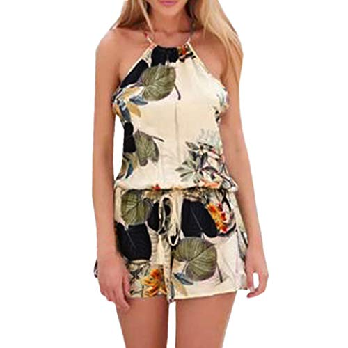 - Dunacifa Rompers for Women Floral Sleeveless Backless Loose Summer Short Jumpsuit Casual Playsuit with Pocket Beige