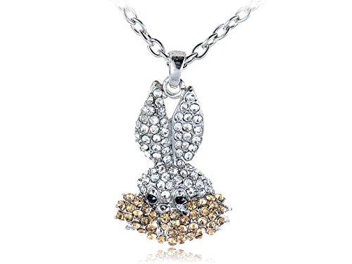 Alilang Silvery Tone Clear Crystal Rhinestone Bugs Bunny Rabbit Pendant Necklace (Rabbit Playboy Rhinestone)