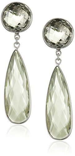 Green Amethyst Pear Dangle Earrings (Twist Earrings Pear Shape)