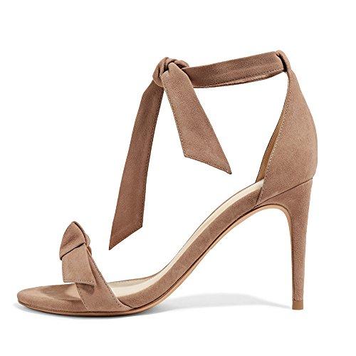 US Women Brown Stiletto Sandals Lutalica 12 Summer Size Heel Fashion Ankle Shoes 5 5 Party Straps High gdfx1qFZwf