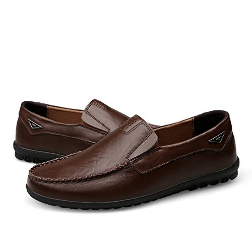Meimei Drak leggeri e foderati Mocassini casual 47 on traspiranti uomo pelle Dimensione Brown EU da slip in Slipper shoes Color Mocassini rrqO7a