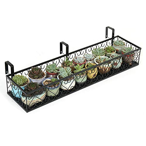 (Fitlyiee Balcony Flower Pot Stand Rack Patio Railing Shelf Plant Pots Holder Windows Decorate (L, Black))