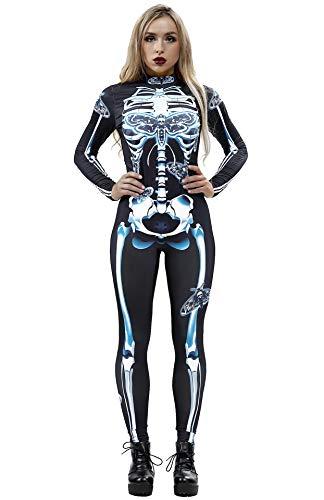 Jasmine Halloween Costume Ideas (Honeystore Women's Skeleton Halloween Costume Catsuit Bodysuit Cosplay Jumpsuits BAX010)