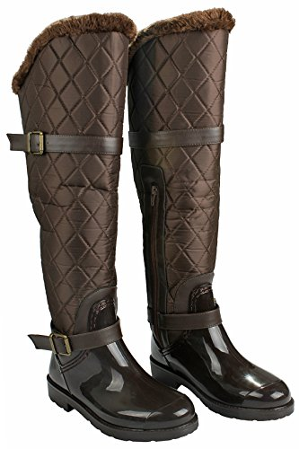 JJF Shoes Women Fashion Lace-Up Faux Fur-Lined Side Zip Buckle Winter Rain Ankle Boots Brown_s01 rnFnYi