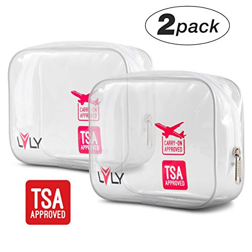 TSA Approved Quart Size Toiletry Bag - Clear for Travel Size Toiletries Shaving Kit or Makeup and Cosmetic Accessories - For Women or Men by LVLY