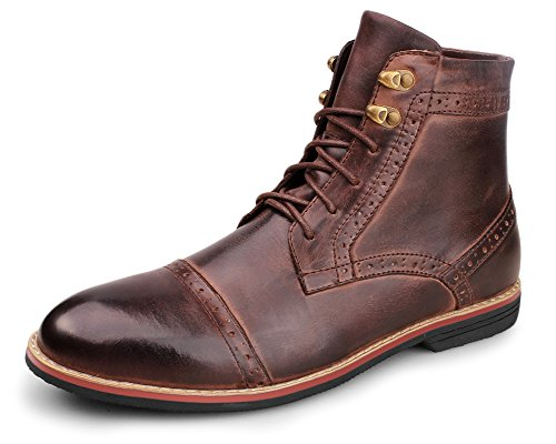 Kunsto Men's Leather Cap Toe Lace up Dress Boot US Size 12 Deep Brown