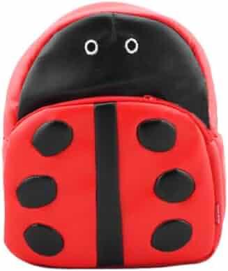 Gaorui Children Toddler Kid s Leather School Bag Animal Fruit Cartoon  Backpack 14 Styles - Ladybug Pattern 00c8fad58f2d0