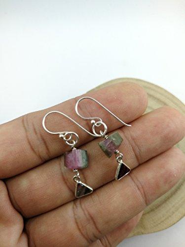 Watermelon Tourmaline Earrings (Raw Watermelon Tourmaline Earrings,925 Sterling Silver Earrings,Drop length 3.2 cm,ERWT)