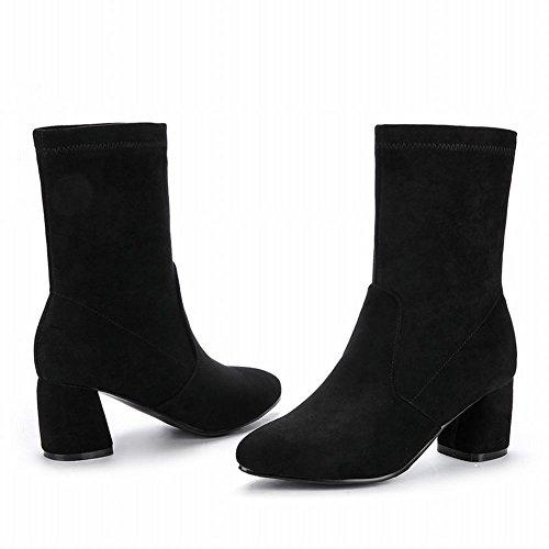 Mee Shoes Damen Blockabsatz halbschaft Nubukleder Boots Schwarz