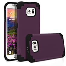 Galaxy S6 Edge Case, MagicMobile® Hybrid Ultra Protective Thin Armor Dedenfer Case For Samsung Galaxy S6 Edge Shockproof Skin Hard Dual Cover High Impact Case for Galaxy S6 Edge (2015)[Purple / Black]