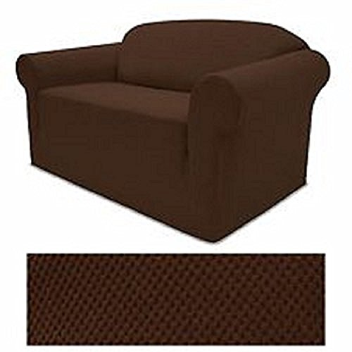 (STRETCH FORM FIT - 3 Pc. Slipcovers Set, Couch/Sofa + Loveseat + Chair Covers - DARK BROWN Color, Stretch Pique Fabric)
