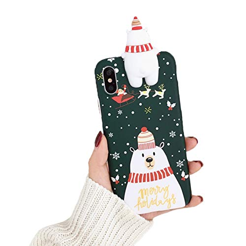 Anytec Happy New Year Snowman Reindeer 3D Soft Silicone Couple Phone Case Compatible iPhone Nice (Snowman, iPhone7 / 8)