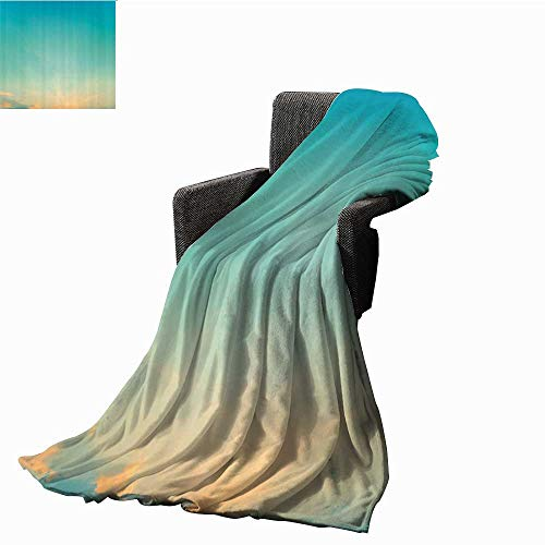 Anshesix Aqua Decorative Throw Blanket Twilight Sunset Morning Clear Sky Dawn Nature Clouds Horizon Artwork Traveling, Hiking, Camping, Full Queen, TV, Cabin 40