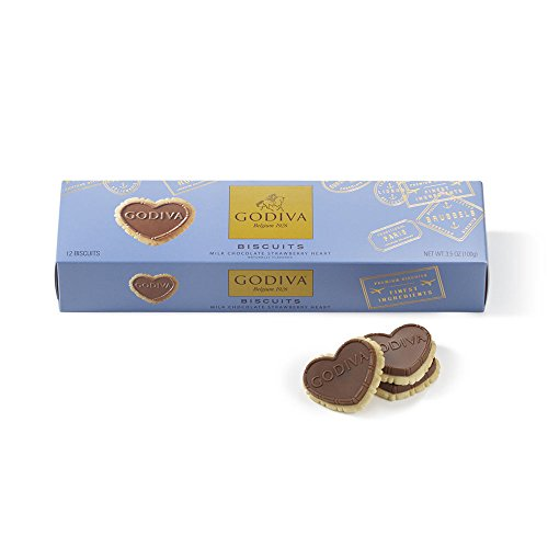 Godiva Chocolate Biscuits (Godiva Chocolatier Milk Chocolate Biscuits, 12 Chocolate Strawberry Cookie Gift)