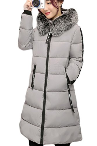 Zip Outwear La Hoodie Casual Quilted Long Warm Furry gris Winter Parkas Mujer O11xqSAw7