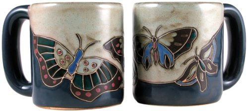 One (1) MARA STONEWARE COLLECTION - 16 Oz Coffee/Tea Cup Collectible Tan Dinner Mugs - Butterfly Design