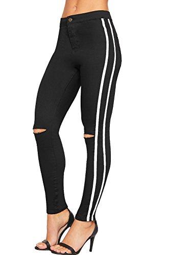 C Genou Pantalon Lacr t Maigre Jeans 34 44 Jean Taille Toile De lev Femmes Noir Dames Ray Blanc WearAll wqCx610x