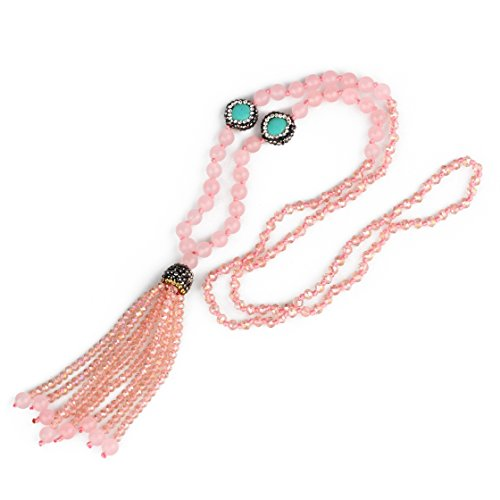 New! China tassel, crystal with drill tassel y-Long chain with stone production (Rose (Quartz Long Drill)
