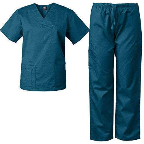 MedGear Scrubs Set Multi-Pocket Top & Pants, Eversoft Fabric, Unisex (M, Dark (Green Elastic Waist Uniform Scrub)