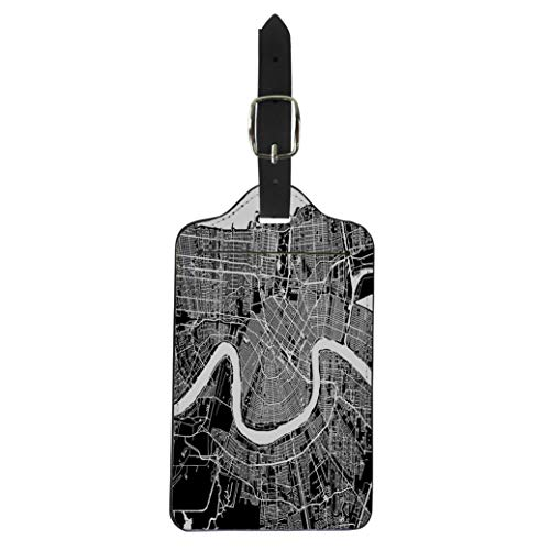 (Pinbeam Luggage Tag New Orleans Map Artprint Black Landmass White Water Suitcase Baggage Label)