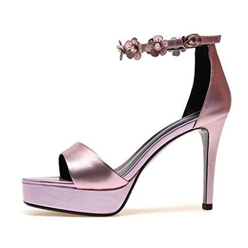 Imperméable Bout Talons Talon Ouvert Été Rose Talons Chaussures Enveloppant Femme À Minces Sandales Forme Plate w1qZHxvE