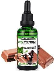 ALPHAPOWER FOOD® Flavour Drops, Vegan, flytande – 1 x 50 ml arom Stevia choklad, koncentrat och smakproppar – flave droppar utan socker, flavdrops för mat och bakning