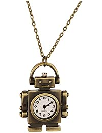 Retro Pocket Watch Bronze Robot Shaped Pendant Necklace
