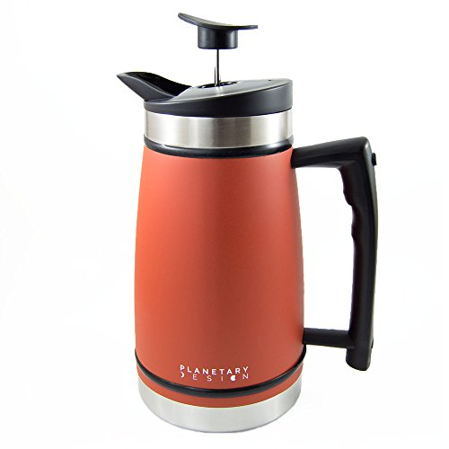 French Press Table Top Coffee and Tea Maker Carafe with Brü-Stop Technology - 48 oz - Stainless Steel with Grip Texture - Red Rock Orange