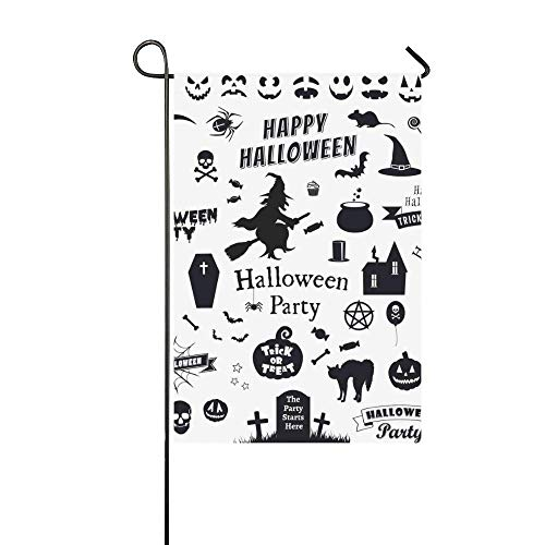Fashbag Home Decorative Outdoor Halloween Party Icons Set Trick Treat Garden Flag,House Yard Flag,Garden Yard Decorations,Seasonal Welcome Outdoor Flag 12 X 18 Inch Spring Summer Gift -