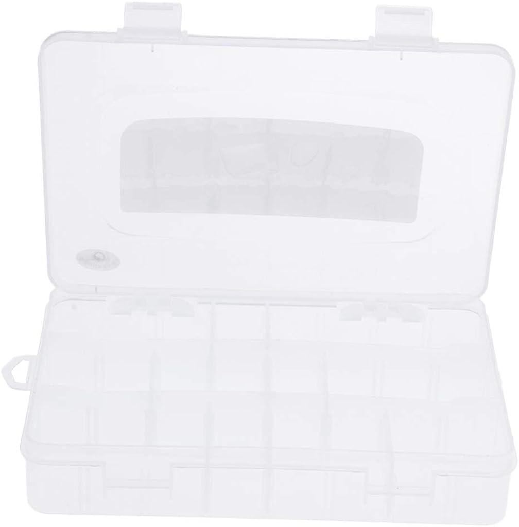 P Prettyia Caja de Almacenamiento Plástico con 11 Rejillas Extraíbles Organizador para Collar, Pulsera, Pendientes, Botones de Costura 19.1x35x12.8cm