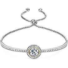 "GEORGE · SMITH Birthday Gifts""Endless Saturn""Classic Design Adjustable Women Bangle Bracelet Crystals from Swarovski Jewelry for Girlfriend Wife Mom -a Luxury Gift Box Included"
